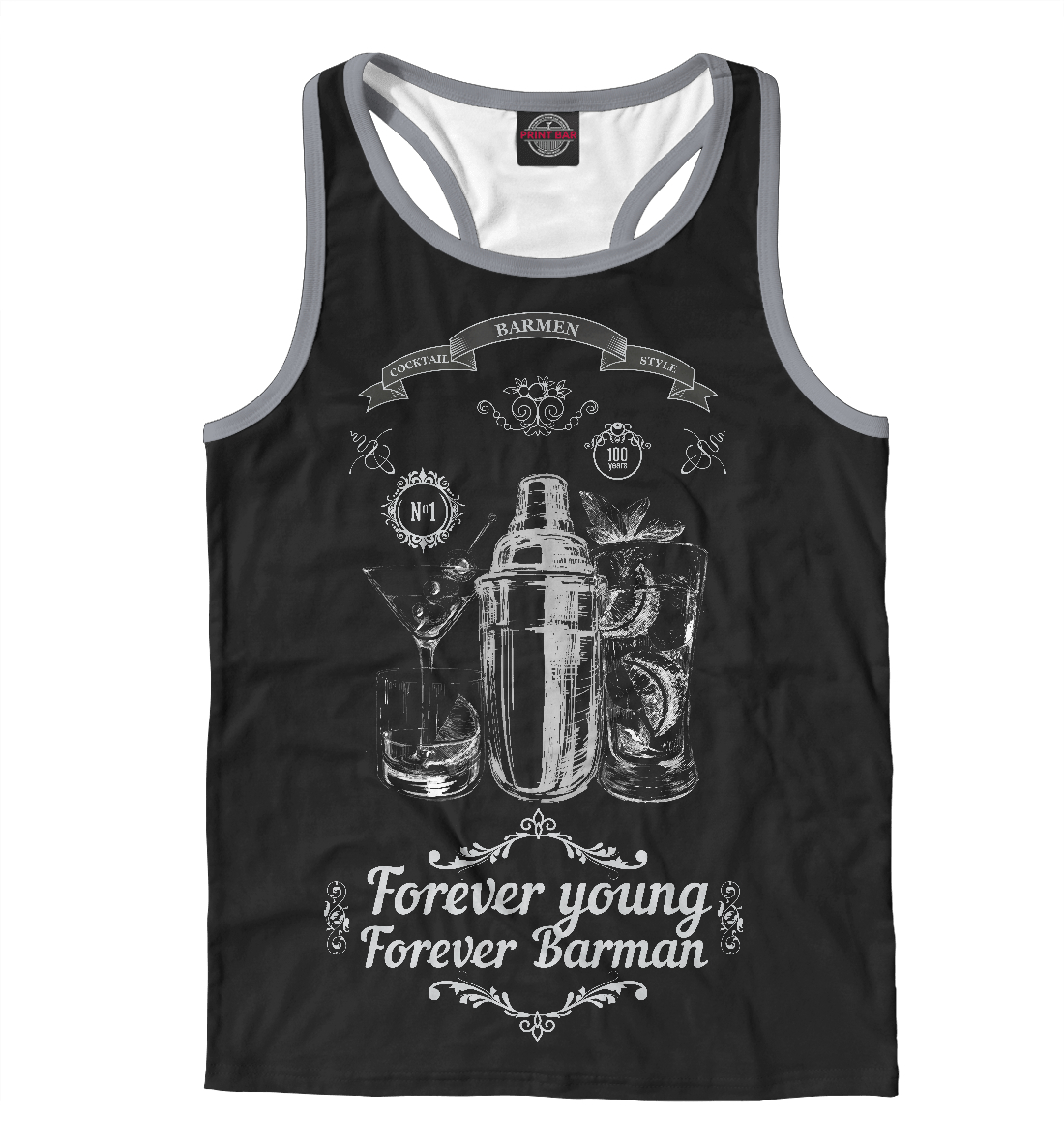 Майка борцовка мужская Forever young, forever Barman