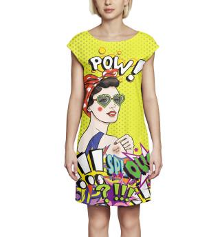 Платье без рукавов  Поп-арт (2629)