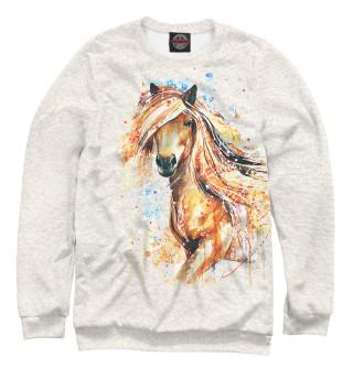Свитшот для девочек Конь акварель