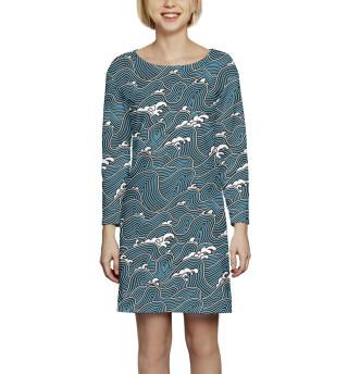 Платье с рукавом  Волны