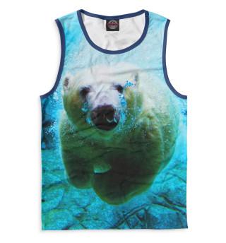 Майка мужская Белый медведь под водой