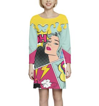 Платье с рукавом  Поп-арт (3755)
