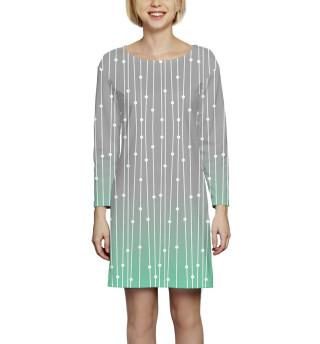 Платье с рукавом  Абстракция (3520)