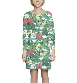 Платье с рукавом  Цветы и листья