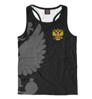 Майка борцовка мужская Герб России Серый на Черном