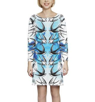Платье с рукавом  Ласточки