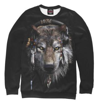 Свитшот для девочек Волк в наушниках