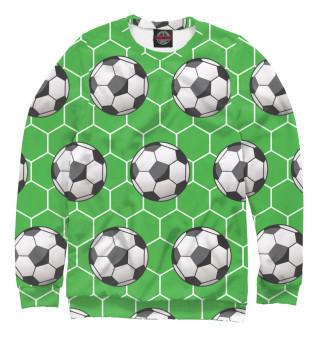 Свитшот для девочек Футбольные мячи на зеленом фоне