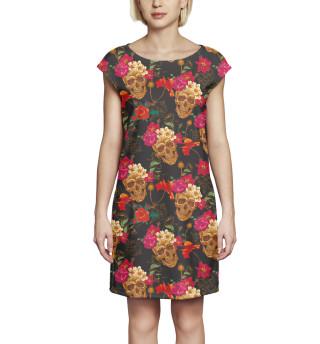 Платье без рукавов  Черепа и цветы
