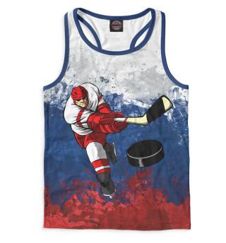 Майка борцовка мужская Хоккеист и триколор