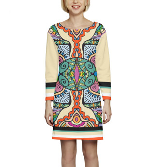 Платье с рукавом  Абстракция (1400)