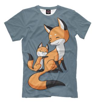 Футболка мужская Лисица с лисёнком